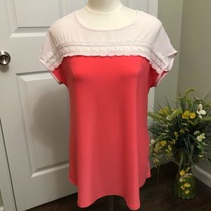 Faith and Joy Coral with Lace Top